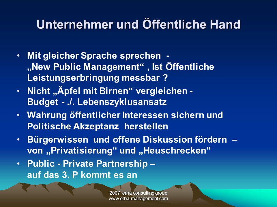 2007 erha consulting group www.erha-management.com Unternehmer und Öffentliche Hand Mit gleicher Sprache sprechen - New Public Management, Ist Öffentl