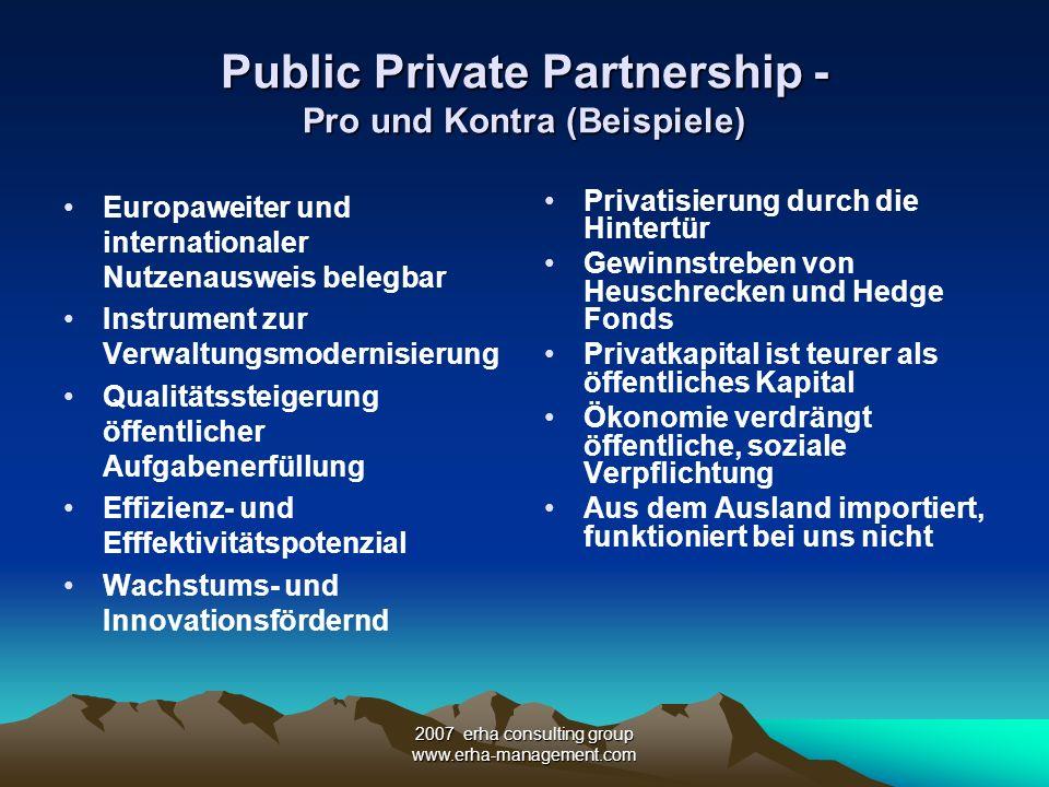 2007 erha consulting group www.erha-management.com Rollenverteilung - Finanzierung,Subventionen,Garantien PPPs umfassen unterschiedliche Formen der Leistungserbringung Finanzierung, Förderung (Zuschüsse,Subventionen) und Risikoverteilung richten sich nach dem Umfang der Leistungserbringung und der Laufzeit der Partnerschaft (Lebenszyklusansatz) Risiken trägt prinzipiell der Partner, der das jeweilige Risiko am besten beherrschen kann.