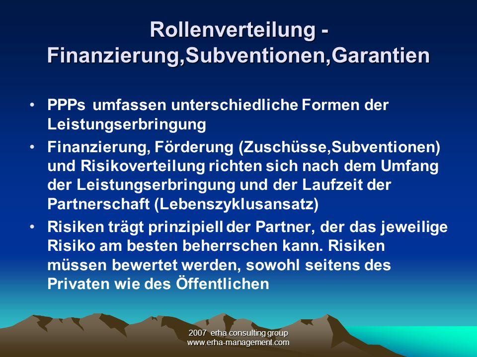 2007 erha consulting group www.erha-management.com Rollenverteilung - Finanzierung,Subventionen,Garantien PPPs umfassen unterschiedliche Formen der Le