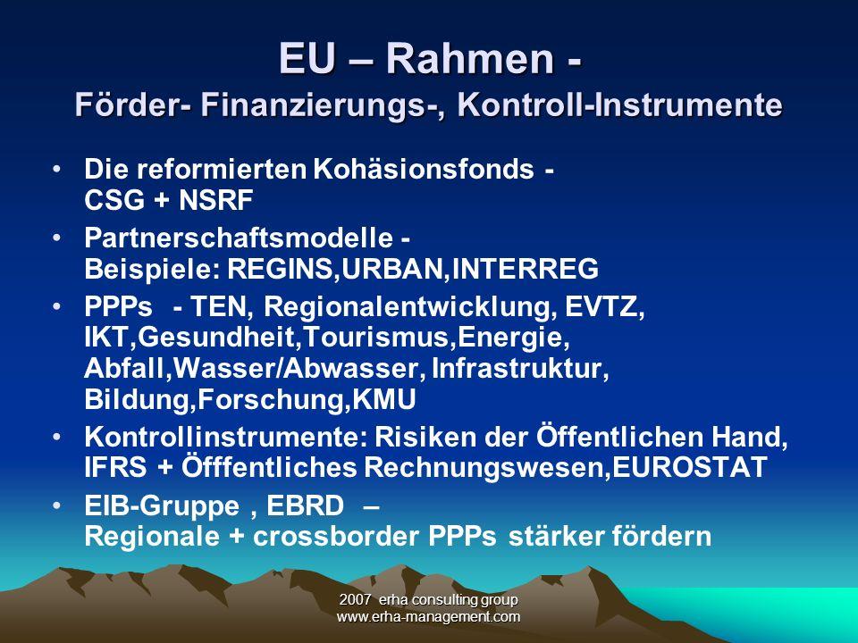 2007 erha consulting group www.erha-management.com EU – Rahmen - Förder- Finanzierungs-, Kontroll-Instrumente Die reformierten Kohäsionsfonds - CSG +