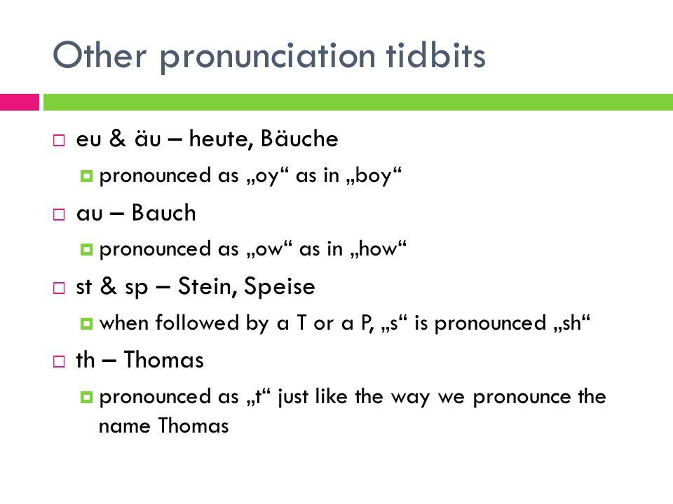 Other pronunciation tidbits eu & äu – heute, Bäuche pronounced as oy as in boy au – Bauch pronounced as ow as in how st & sp – Stein, Speise when foll