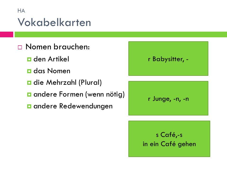 Nomen brauchen: den Artikel das Nomen die Mehrzahl (Plural) andere Formen (wenn nötig) andere Redewendungen r Babysitter, - r Junge, -n, -n s Café,-s