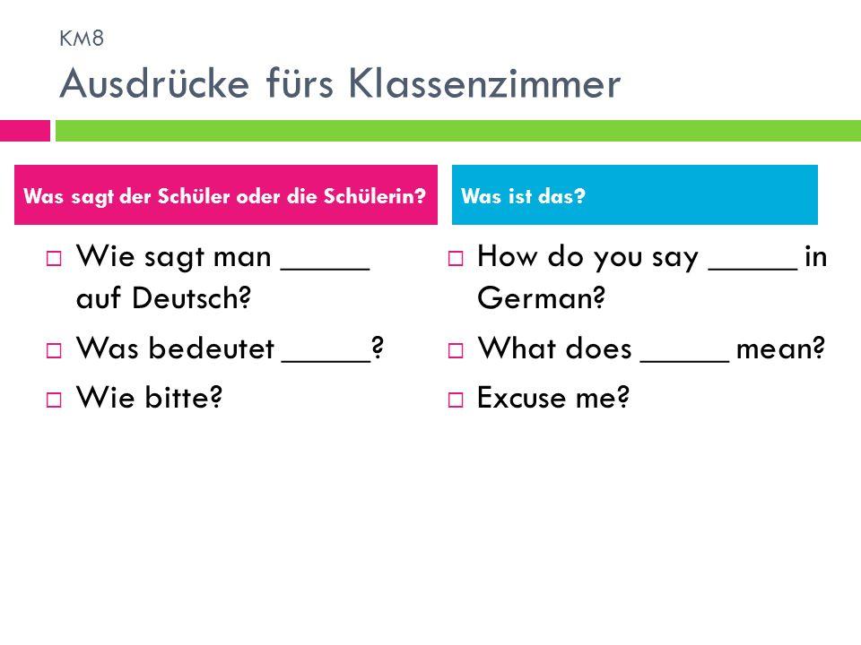 Wie sagt man _____ auf Deutsch? Was bedeutet _____? Wie bitte? How do you say _____ in German? What does _____ mean? Excuse me? Was sagt der Schüler o