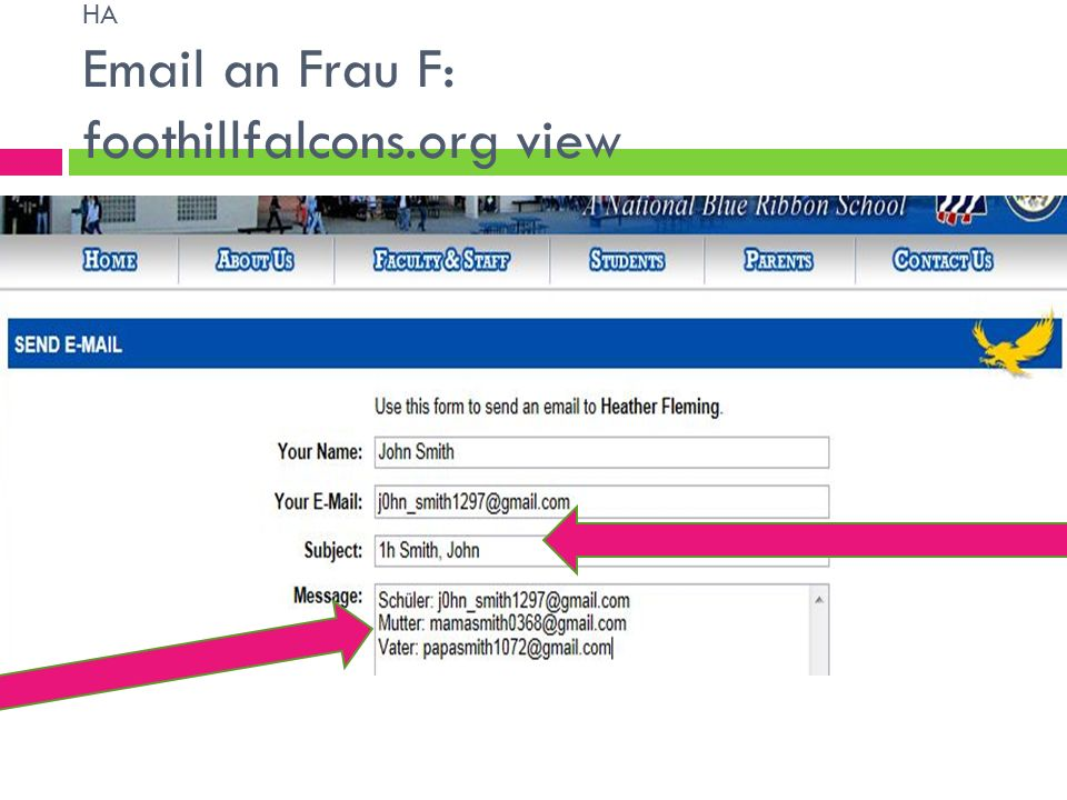 HA Email an Frau F: REVIEW The subject line should have 1h Last, First.
