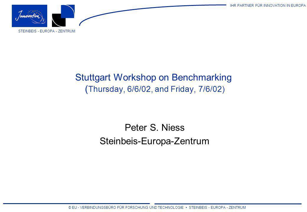 IHR PARTNER FÜR INNOVATION IN EUROPA © EU - VERBINDUNGSBÜRO FÜR FORSCHUNG UND TECHNOLOGIE STEINBEIS - EUROPA - ZENTRUM STEINBEIS - EUROPA - ZENTRUM Stuttgart Benchmarking-Workshop Draft Programme - Thursday Morning, 6/6/02 08:30 Registration 09:30Opening Session (Vortragssaal) Welcome Address (Dr.
