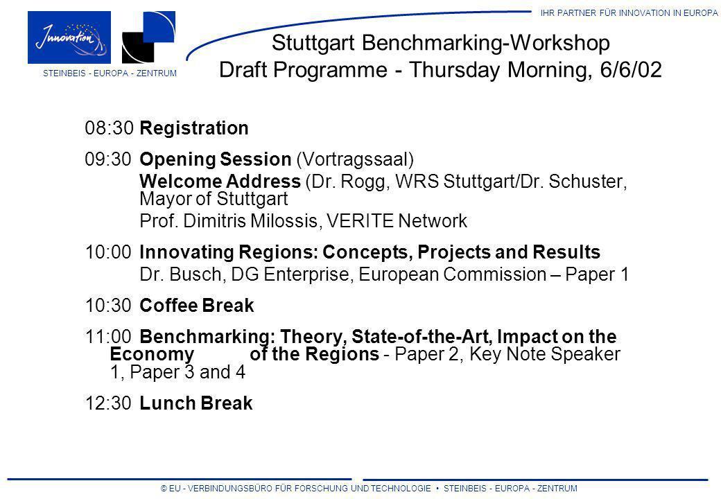 IHR PARTNER FÜR INNOVATION IN EUROPA © EU - VERBINDUNGSBÜRO FÜR FORSCHUNG UND TECHNOLOGIE STEINBEIS - EUROPA - ZENTRUM STEINBEIS - EUROPA - ZENTRUM Stuttgart Benchmarking-Workshop Draft Programme - Thursday Afternoon, 6/6/02 14:00Afternoon Session (Vortragssal) Benchmarking: Best Practices of the Regions (Vortragssaal) Paper 5: Prof.