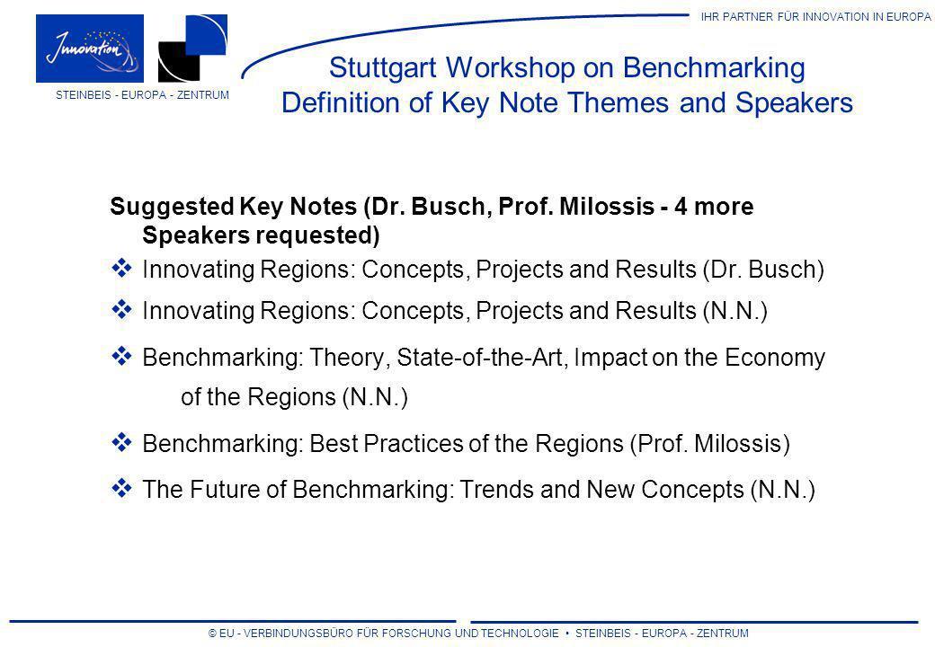 IHR PARTNER FÜR INNOVATION IN EUROPA © EU - VERBINDUNGSBÜRO FÜR FORSCHUNG UND TECHNOLOGIE STEINBEIS - EUROPA - ZENTRUM STEINBEIS - EUROPA - ZENTRUM Stuttgart Workshop on Benchmarking Definition of Workshop Themes, Chairpersons and Speakers Suggested Workshops (6 Chairpersons and 12 speakers requested) A: Internal Company Benchmarking (Chair + 2 Speakers) B: External Company Benchmarking (Chair + 2 Speakers) C: Benchmark.