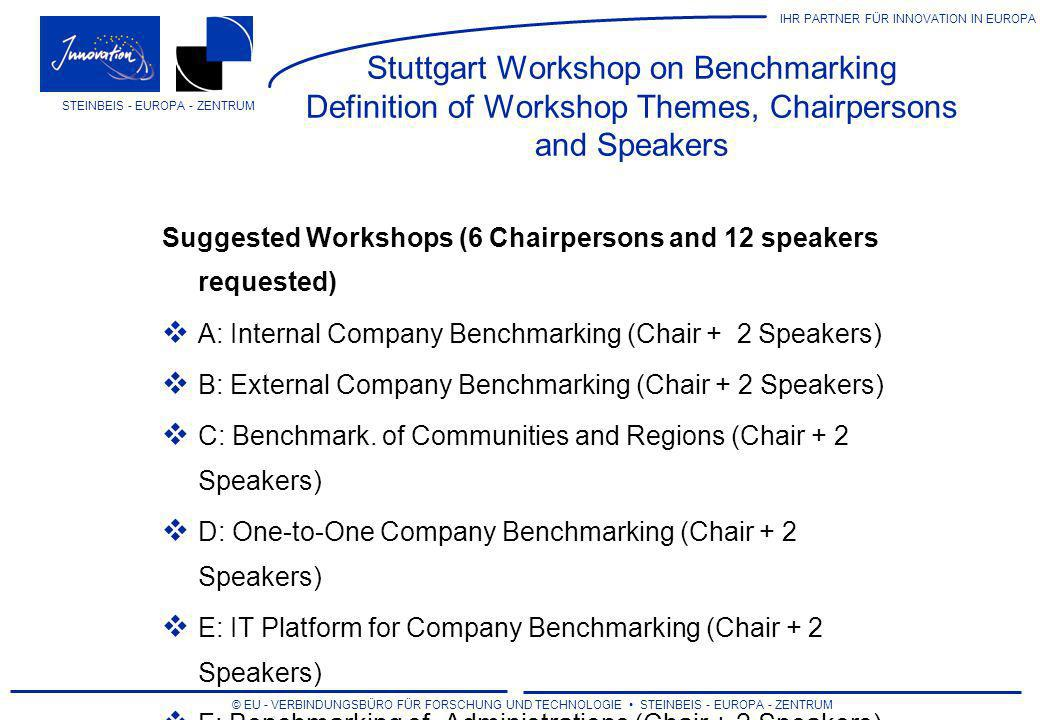 IHR PARTNER FÜR INNOVATION IN EUROPA © EU - VERBINDUNGSBÜRO FÜR FORSCHUNG UND TECHNOLOGIE STEINBEIS - EUROPA - ZENTRUM STEINBEIS - EUROPA - ZENTRUM Other decisions to be made Programme Final Title of the event Committee for the selection of papers Dinner party/come together (possible sponsors?) Marketing Flyers and posters requested by the partners (calculated: 2,000/40) Deadline for flyers and posters Design of flyers and posters, use of logos...