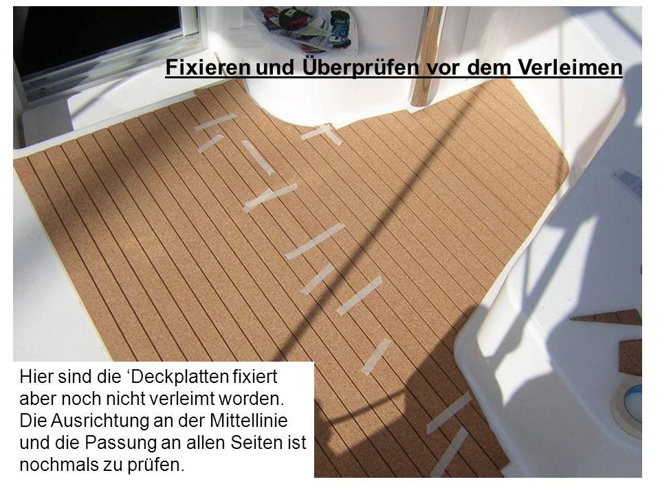 Hier sind die Deckplatten fixiert aber noch nicht verleimt worden. Die Ausrichtung an der Mittellinie und die Passung an allen Seiten ist nochmals zu