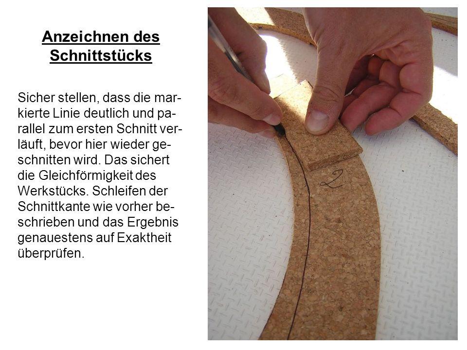 Herstellung der Gummifuge Fertig geschnitten, wird zunächst die Nut als Bett für die Gummifuge vorbe- reitet.