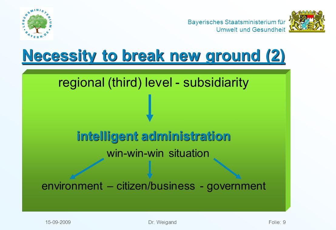Bayerisches Staatsministerium für Umwelt und Gesundheit 15-09-2009 Dr. WeigandFolie: 9 Necessity to break new ground (2) regional (third) level - subs