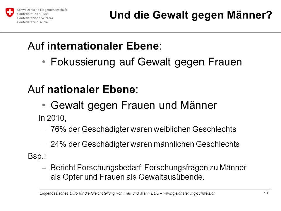 10 Eidgenössisches Büro für die Gleichstellung von Frau und Mann EBG – www.gleichstellung-schweiz.ch Und die Gewalt gegen Männer? Auf internationaler