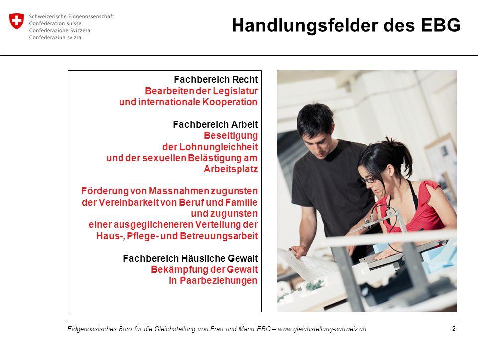 2 Eidgenössisches Büro für die Gleichstellung von Frau und Mann EBG – www.gleichstellung-schweiz.ch Fachbereich Recht Bearbeiten der Legislatur und in