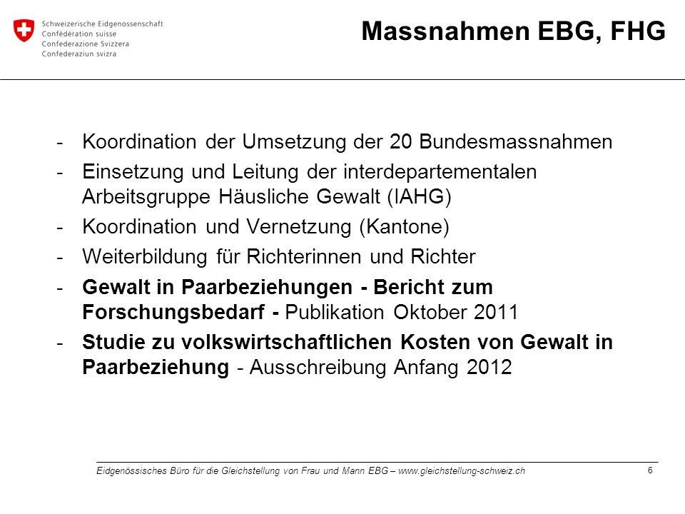 6 Eidgenössisches Büro für die Gleichstellung von Frau und Mann EBG – www.gleichstellung-schweiz.ch Massnahmen EBG, FHG -Koordination der Umsetzung de