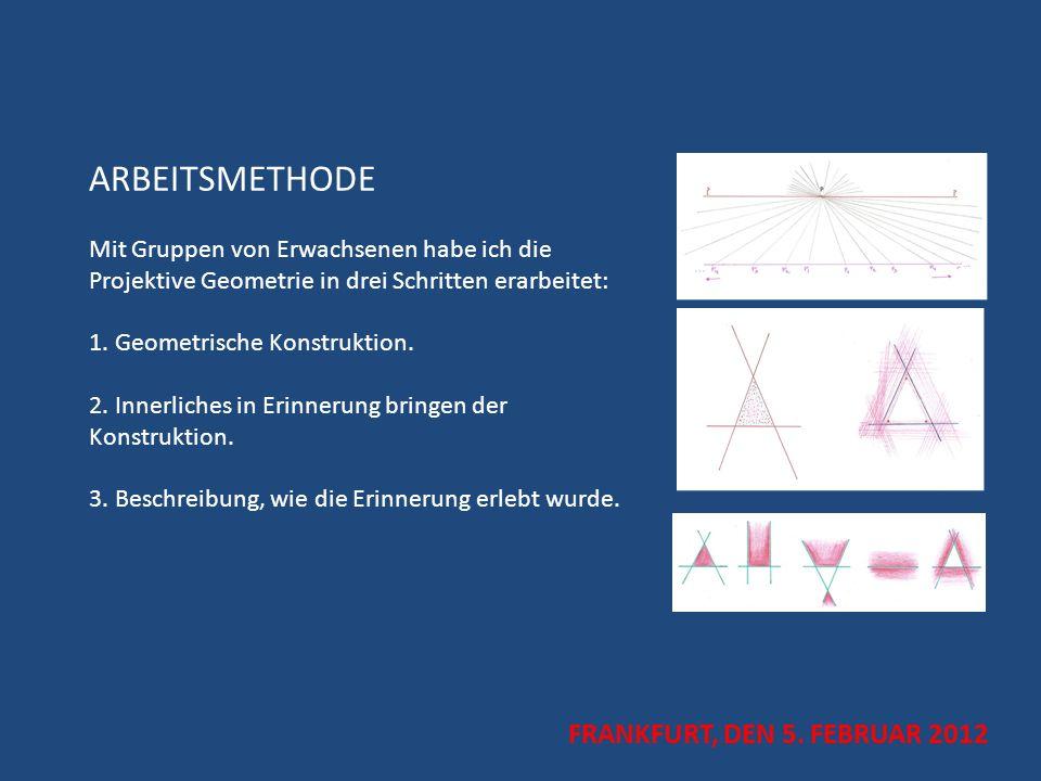 ARBEITSMETHODE Mit Gruppen von Erwachsenen habe ich die Projektive Geometrie in drei Schritten erarbeitet: 1. Geometrische Konstruktion. 2. Innerliche
