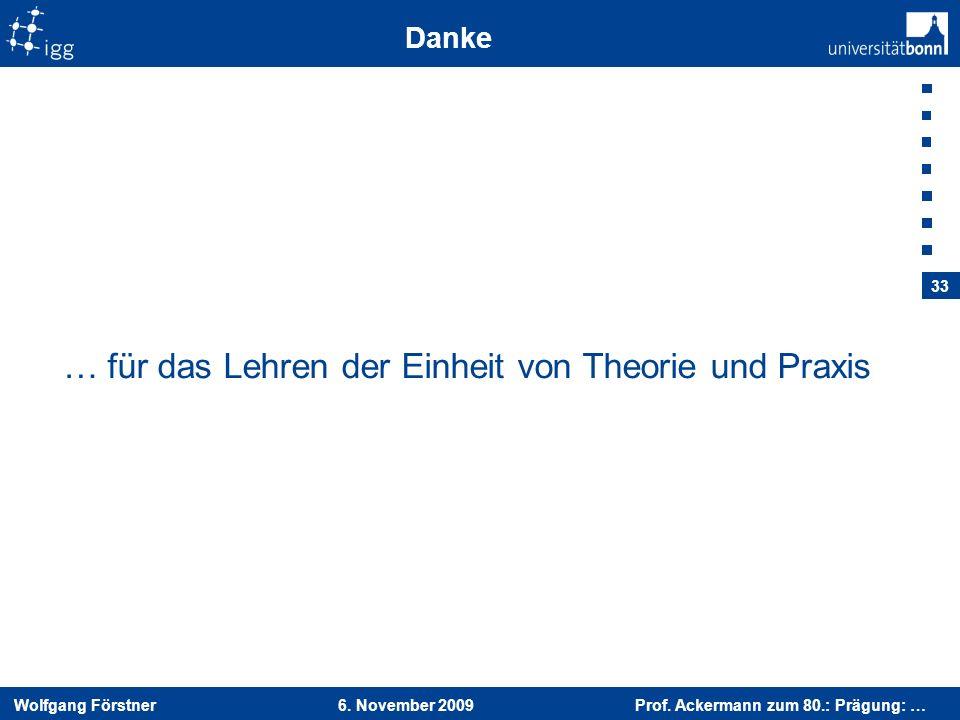 Wolfgang Förstner 6. November 2009 Prof. Ackermann zum 80.: Prägung: … 33 Danke … für das Lehren der Einheit von Theorie und Praxis