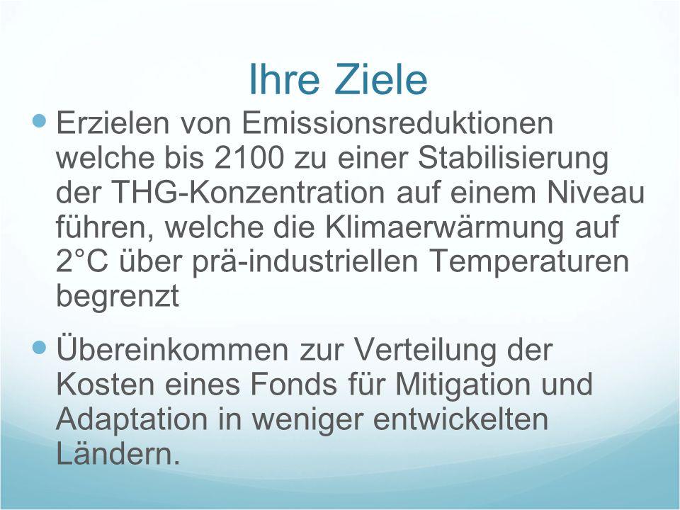 Ihre Ziele Erzielen von Emissionsreduktionen welche bis 2100 zu einer Stabilisierung der THG-Konzentration auf einem Niveau führen, welche die Klimaer