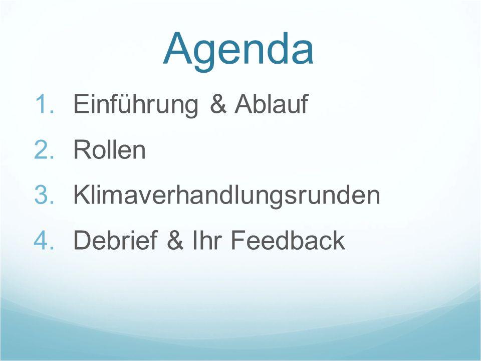 Agenda Einführung & Ablauf Rollen Klimaverhandlungsrunden Debrief & Ihr Feedback