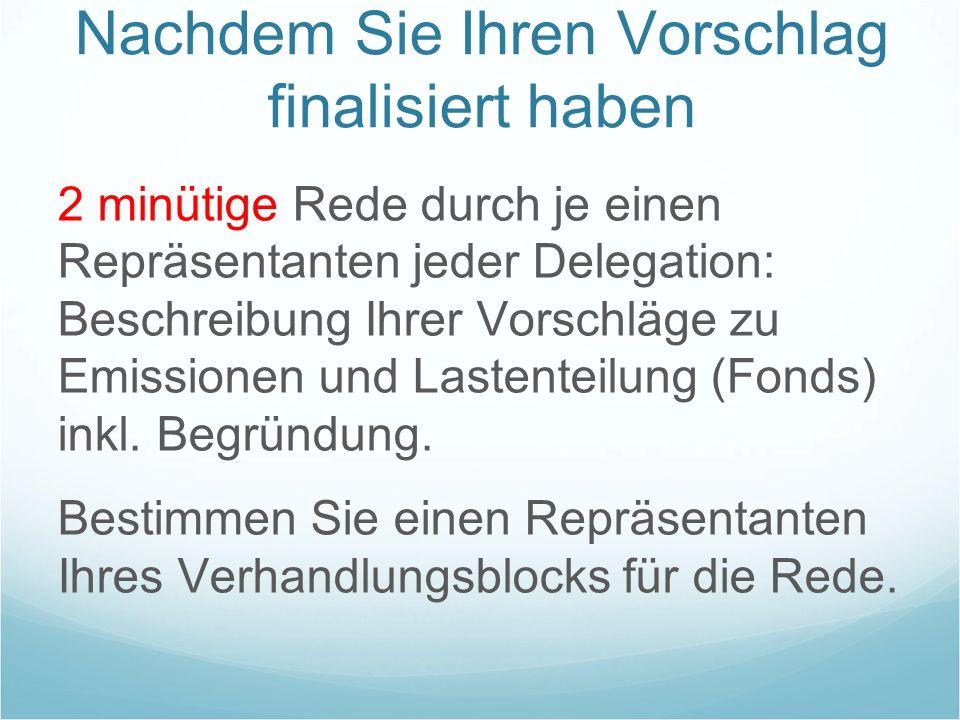Nachdem Sie Ihren Vorschlag finalisiert haben 2 minütige Rede durch je einen Repräsentanten jeder Delegation: Beschreibung Ihrer Vorschläge zu Emissio