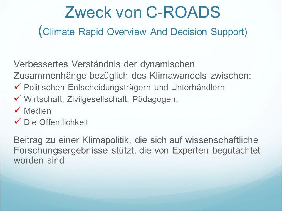 Zweck von C-ROADS ( Climate Rapid Overview And Decision Support) Verbessertes Verständnis der dynamischen Zusammenhänge bezüglich des Klimawandels zwi