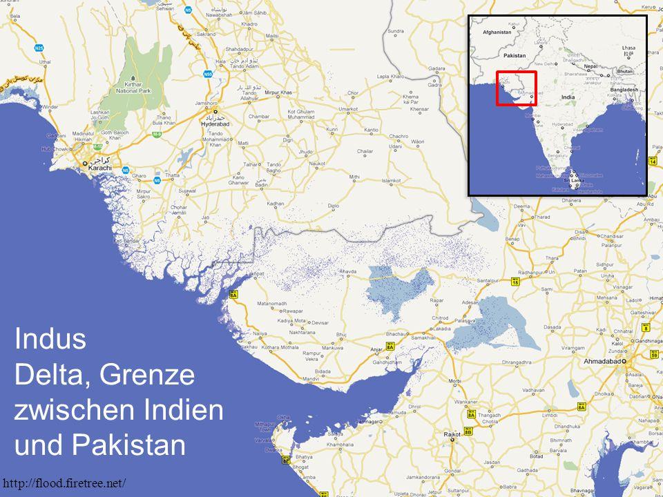 Indus Delta, Grenze zwischen Indien und Pakistan http://flood.firetree.net/