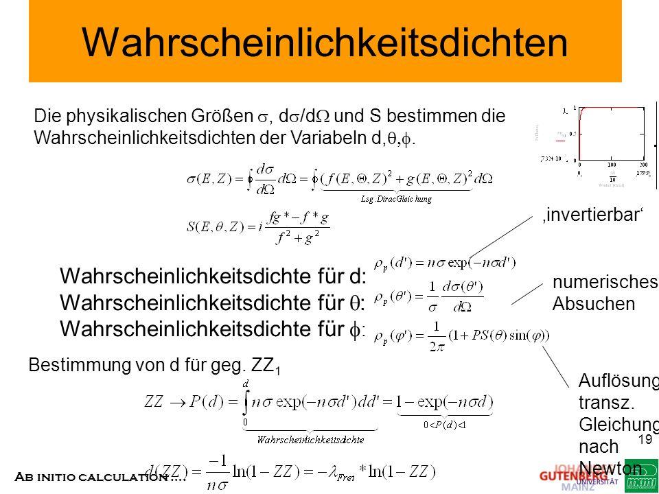Ab initio calculation …. 19 Wahrscheinlichkeitsdichten Die physikalischen Größen, d /d und S bestimmen die Wahrscheinlichkeitsdichten der Variabeln d,