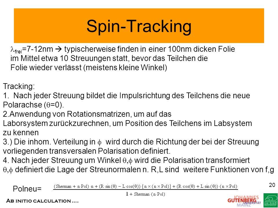 Ab initio calculation …. 20 Spin-Tracking frei =7-12nm typischerweise finden in einer 100nm dicken Folie im Mittel etwa 10 Streuungen statt, bevor das