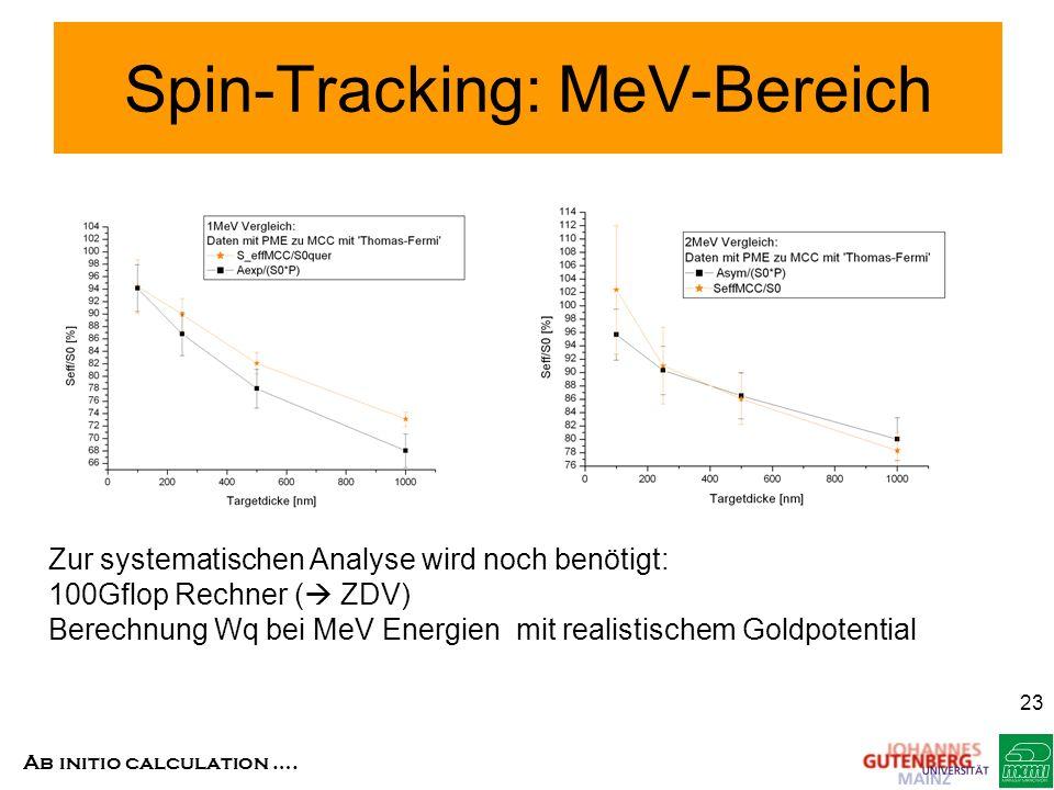 Ab initio calculation …. 23 Spin-Tracking: MeV-Bereich Zur systematischen Analyse wird noch benötigt: 100Gflop Rechner ( ZDV) Berechnung Wq bei MeV En
