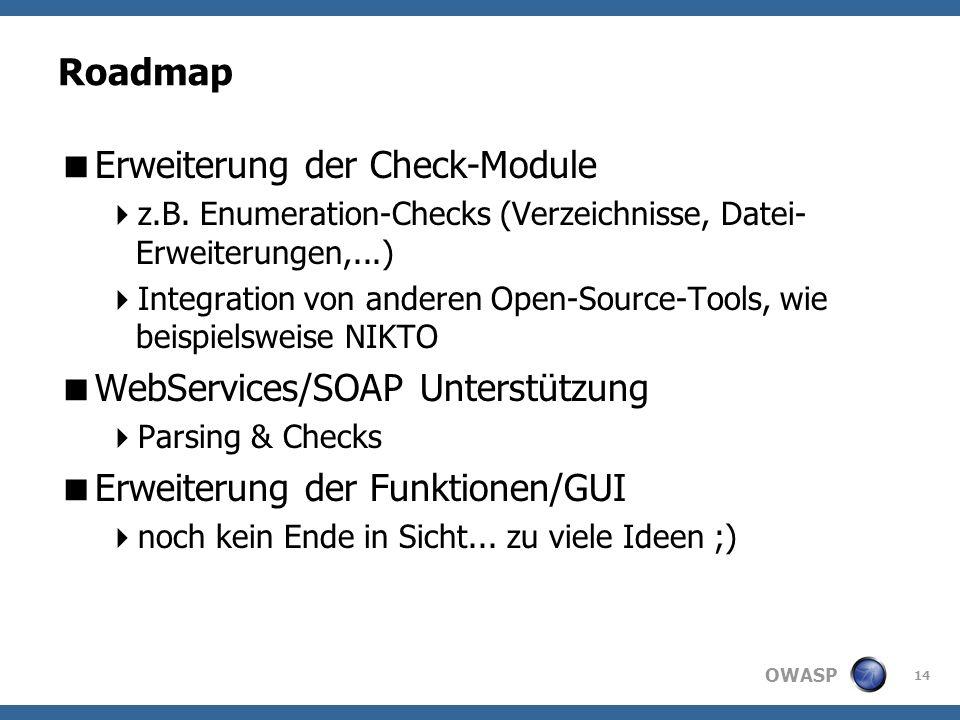 OWASP Roadmap Erweiterung der Check-Module z.B.