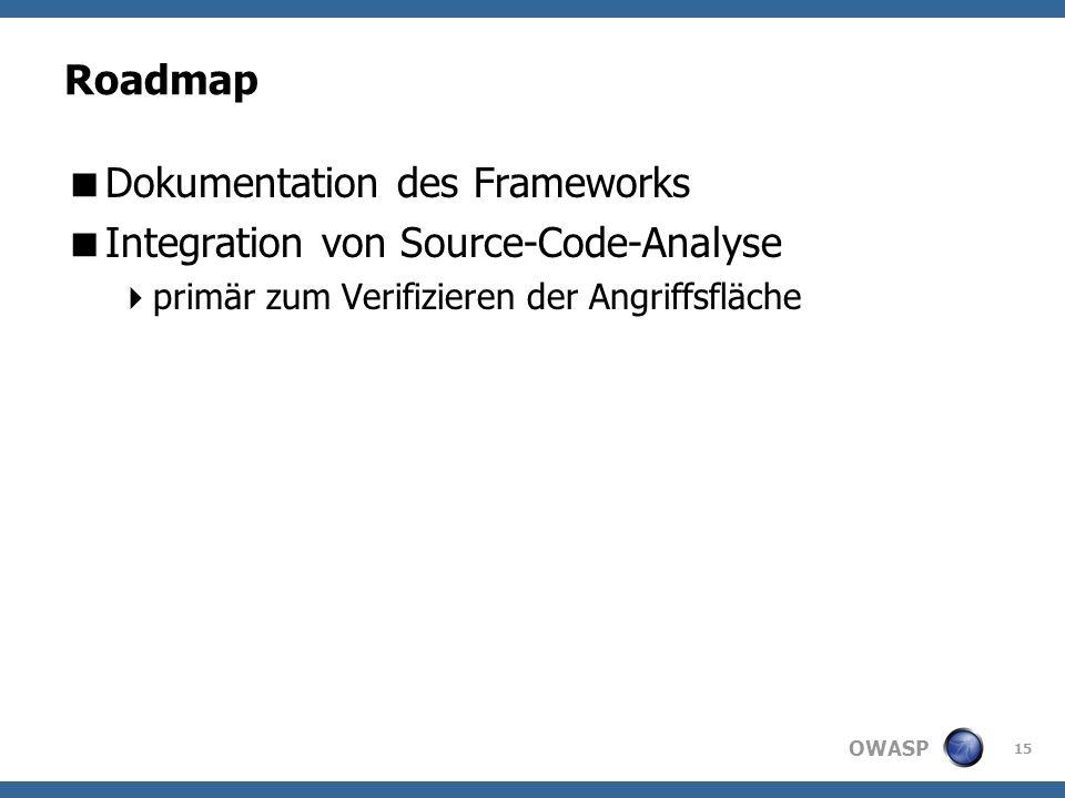 OWASP Roadmap Dokumentation des Frameworks Integration von Source-Code-Analyse primär zum Verifizieren der Angriffsfläche 15