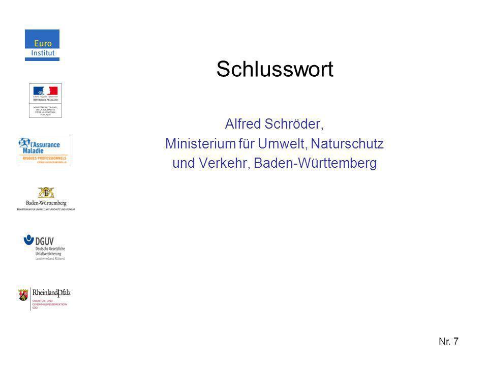 Nr. 7 Schlusswort Alfred Schröder, Ministerium für Umwelt, Naturschutz und Verkehr, Baden-Württemberg