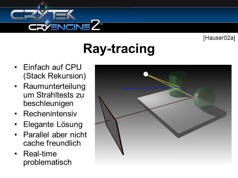 Ray-tracing Einfach auf CPU (Stack Rekursion) Raumunterteilung um Strahltests zu beschleunigen Rechenintensiv Elegante Lösung Parallel aber nicht cach