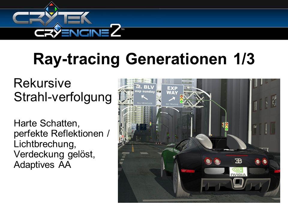 Ray-tracing Generationen 1/3 Rekursive Strahl-verfolgung Harte Schatten, perfekte Reflektionen / Lichtbrechung, Verdeckung gelöst, Adaptives AA