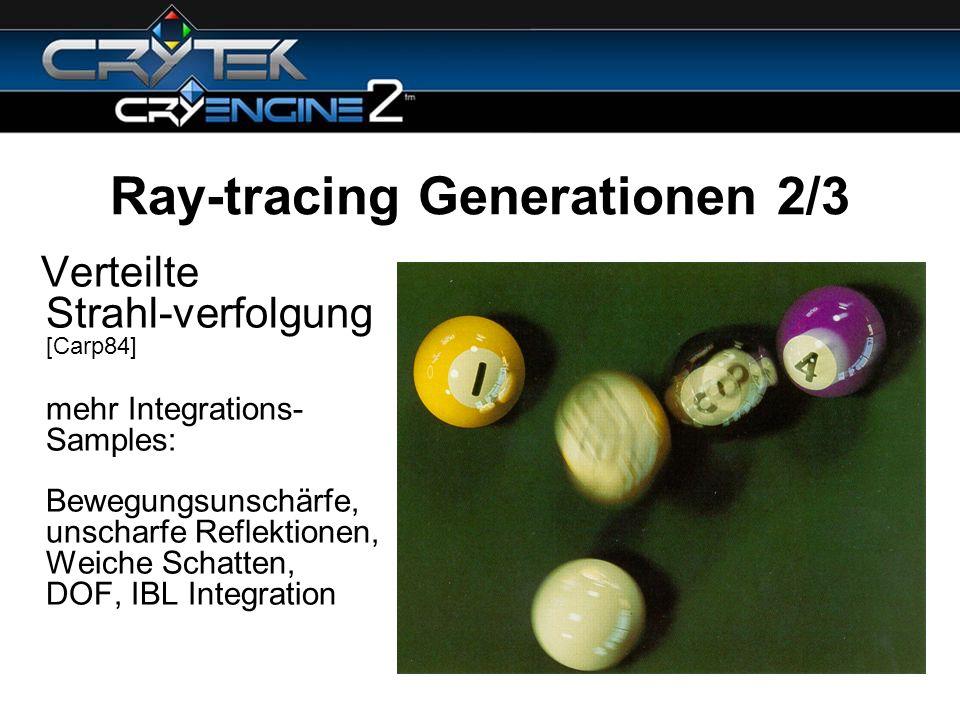 Ray-tracing Generationen 2/3 Verteilte Strahl-verfolgung [Carp84] mehr Integrations- Samples: Bewegungsunschärfe, unscharfe Reflektionen, Weiche Schat