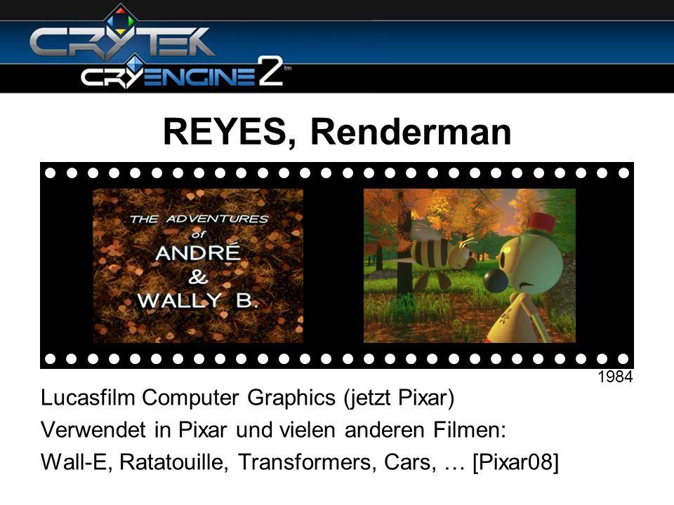 REYES, Renderman Lucasfilm Computer Graphics (jetzt Pixar) Verwendet in Pixar und vielen anderen Filmen: Wall-E, Ratatouille, Transformers, Cars, … [P