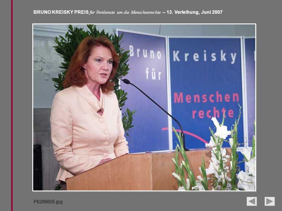 BRUNO KREISKY PREIS für Verdienste um die Menschenrechte – 13. Verleihung, Juni 2007 P6286605.jpg