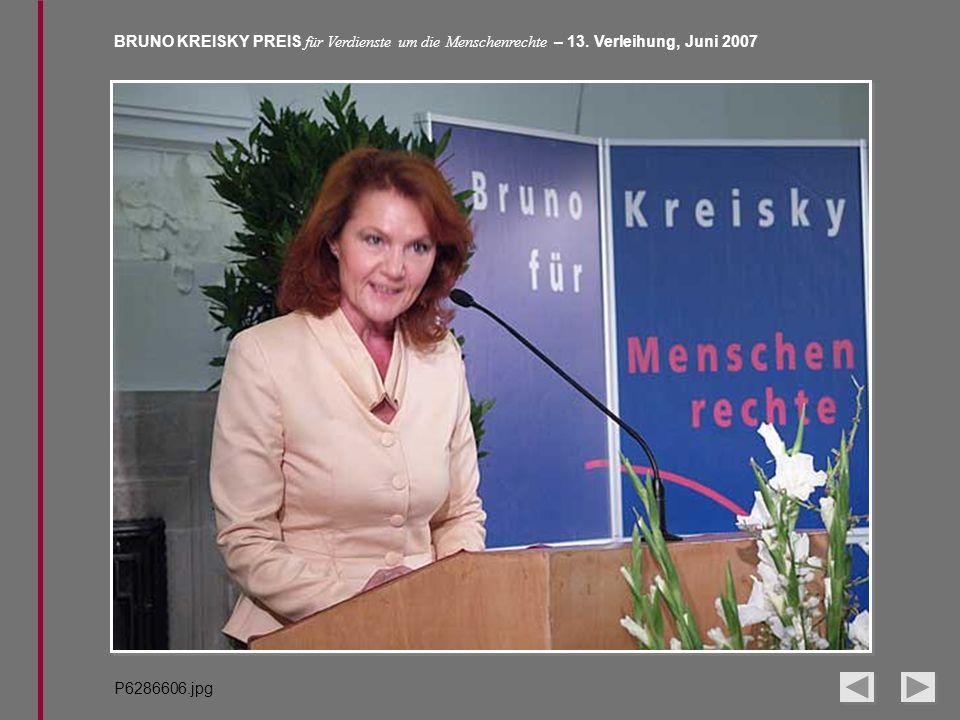 BRUNO KREISKY PREIS für Verdienste um die Menschenrechte – 13. Verleihung, Juni 2007 P6286606.jpg