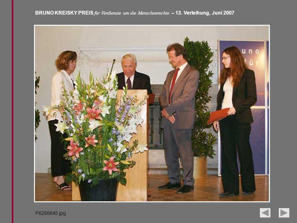 BRUNO KREISKY PREIS für Verdienste um die Menschenrechte – 13. Verleihung, Juni 2007 P6286645.jpg
