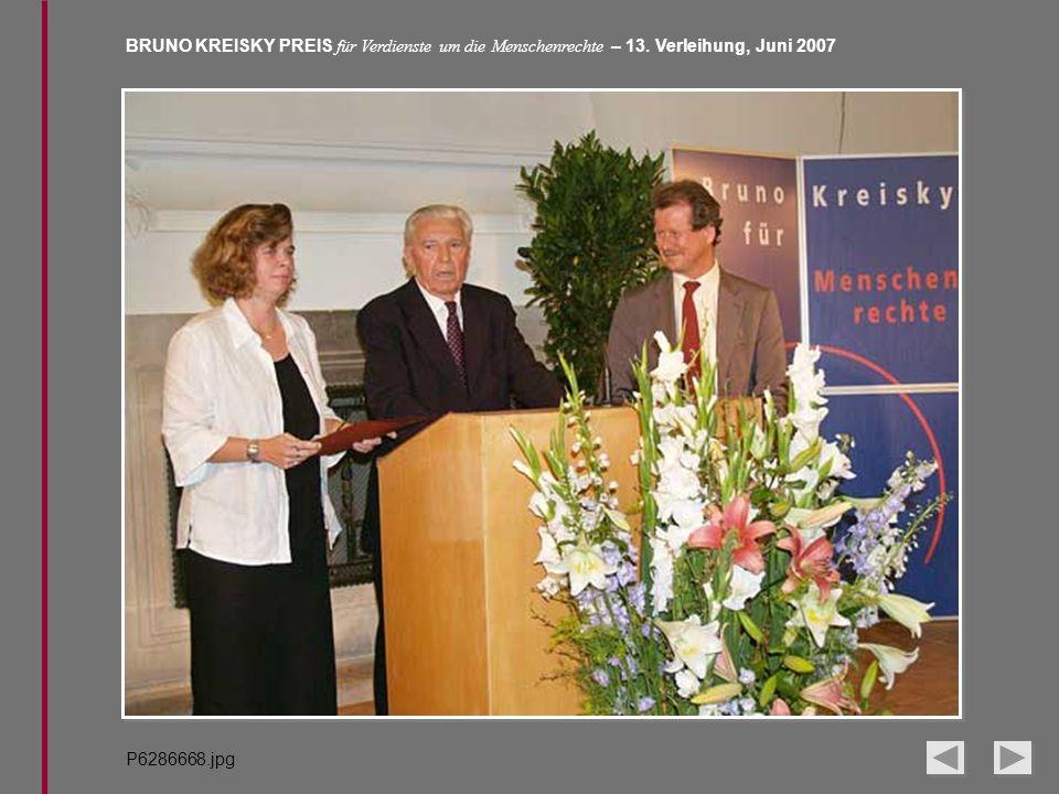 BRUNO KREISKY PREIS für Verdienste um die Menschenrechte – 13. Verleihung, Juni 2007 P6286668.jpg