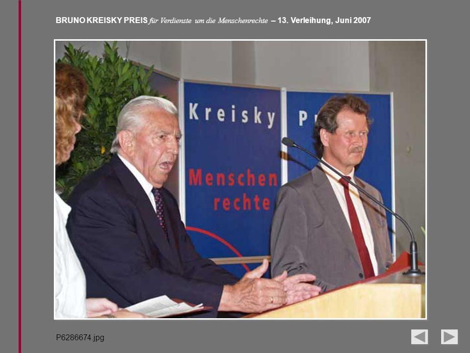 BRUNO KREISKY PREIS für Verdienste um die Menschenrechte – 13. Verleihung, Juni 2007 P6286674.jpg