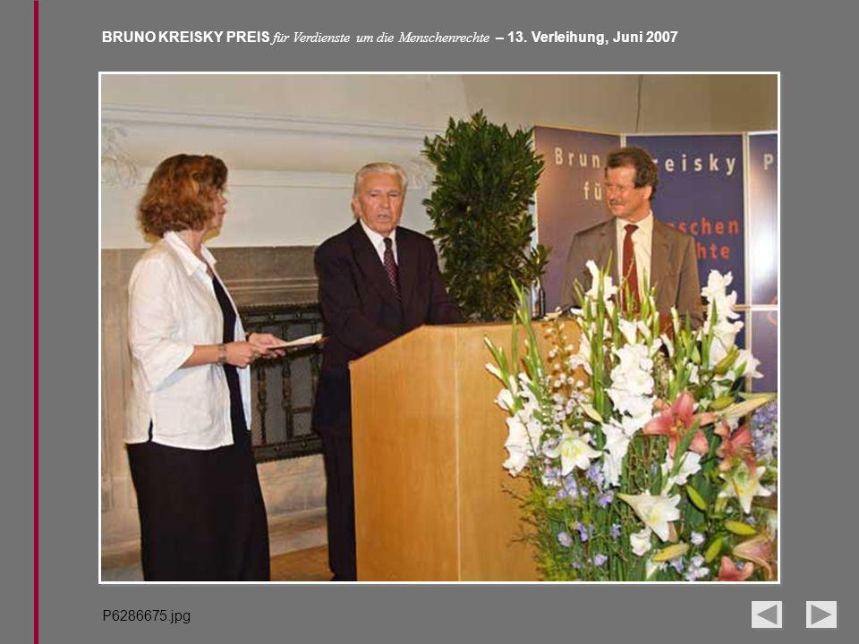 BRUNO KREISKY PREIS für Verdienste um die Menschenrechte – 13. Verleihung, Juni 2007 P6286675.jpg