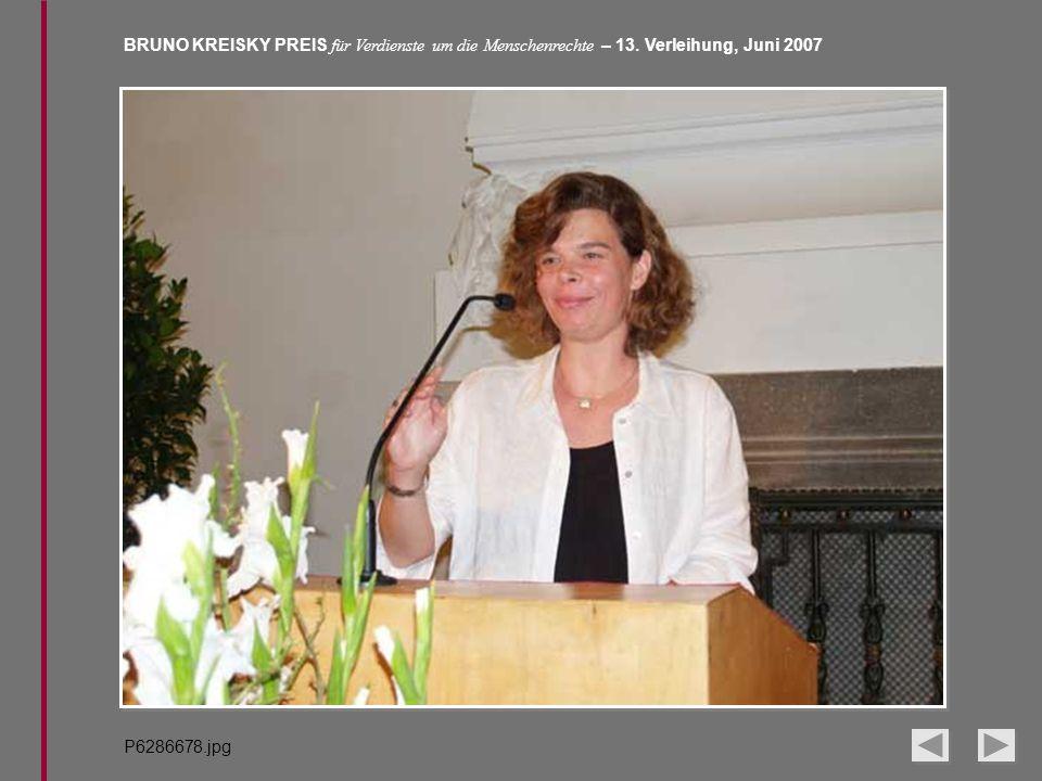 BRUNO KREISKY PREIS für Verdienste um die Menschenrechte – 13. Verleihung, Juni 2007 P6286678.jpg