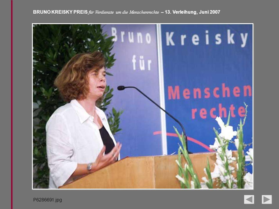 BRUNO KREISKY PREIS für Verdienste um die Menschenrechte – 13. Verleihung, Juni 2007 P6286691.jpg