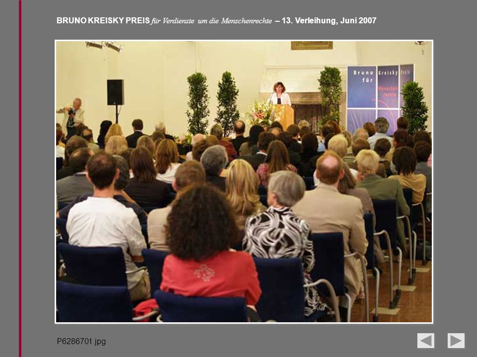 BRUNO KREISKY PREIS für Verdienste um die Menschenrechte – 13. Verleihung, Juni 2007 P6286701.jpg
