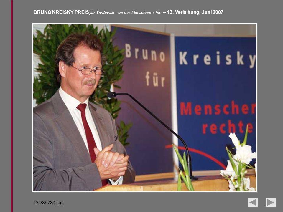 BRUNO KREISKY PREIS für Verdienste um die Menschenrechte – 13. Verleihung, Juni 2007 P6286733.jpg