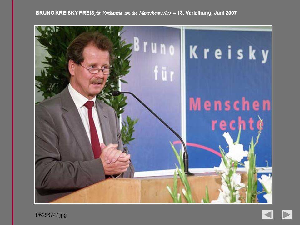 BRUNO KREISKY PREIS für Verdienste um die Menschenrechte – 13. Verleihung, Juni 2007 P6286747.jpg