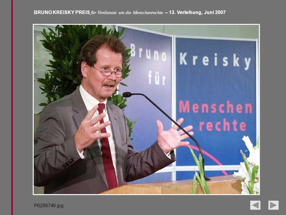 BRUNO KREISKY PREIS für Verdienste um die Menschenrechte – 13. Verleihung, Juni 2007 P6286749.jpg
