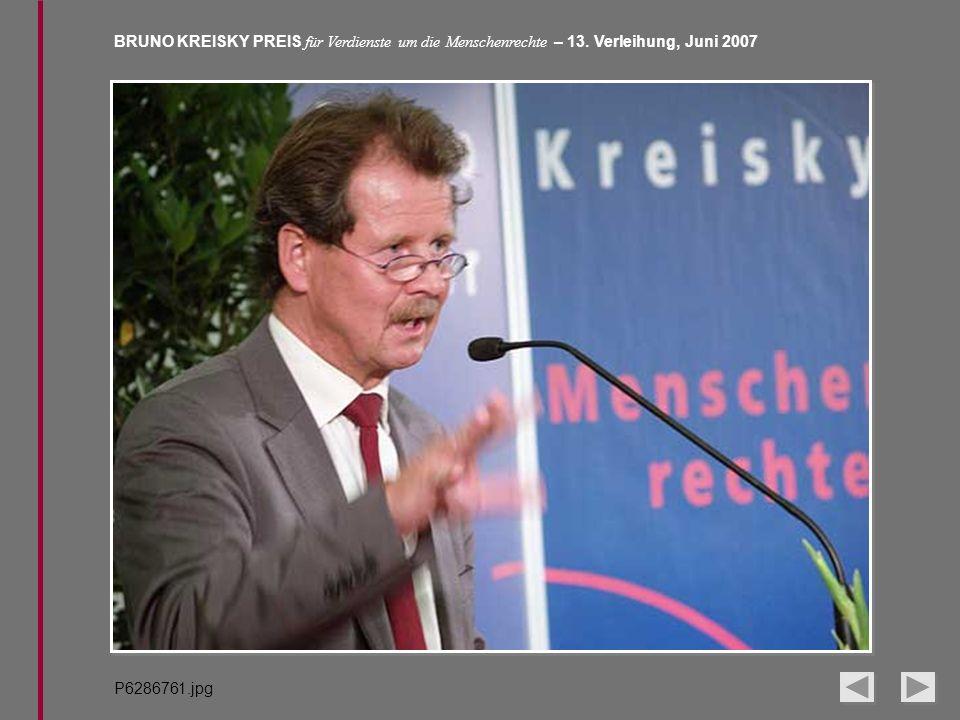 BRUNO KREISKY PREIS für Verdienste um die Menschenrechte – 13. Verleihung, Juni 2007 P6286761.jpg