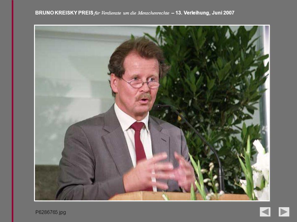 BRUNO KREISKY PREIS für Verdienste um die Menschenrechte – 13. Verleihung, Juni 2007 P6286765.jpg