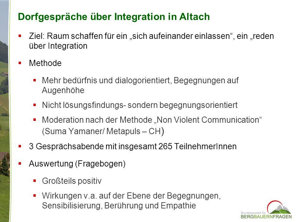 Dorfgespräche über Integration in Altach Ziel: Raum schaffen für ein sich aufeinander einlassen, ein reden über Integration Methode Mehr bedürfnis und